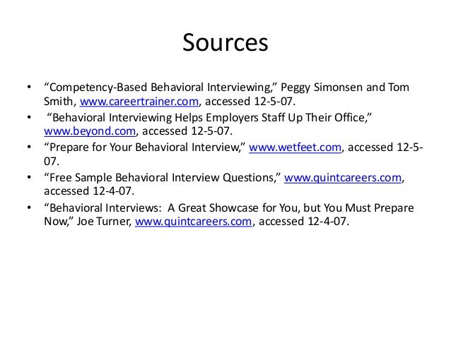 Q And A; 69. Sources U2022 U201cCompetency Based Behavioral Interviewing ...
