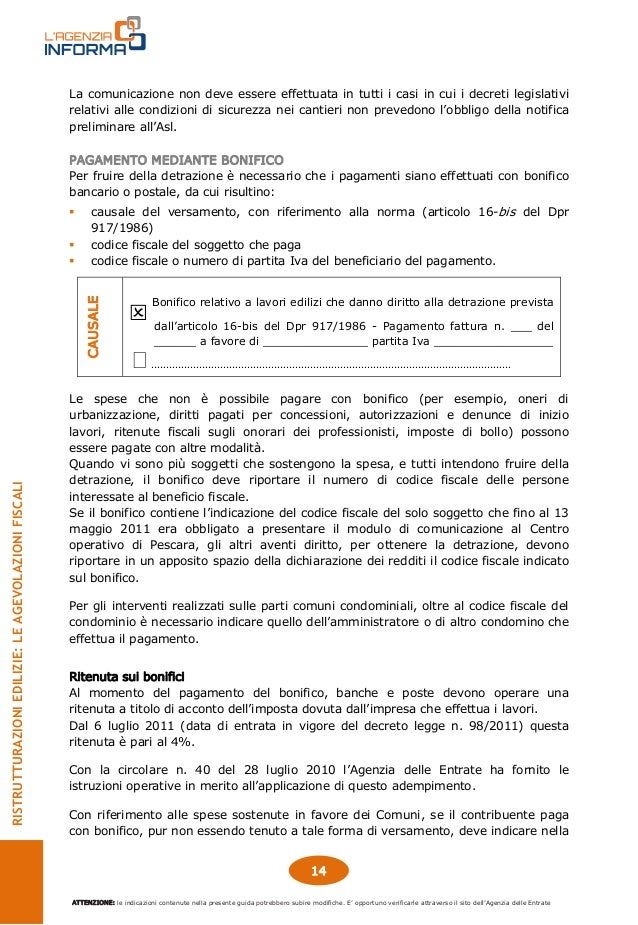 Guida ristrutturazioni edilizie bonus 50 settembre 2014 - Art 16 bis tuir causale bonifico ...