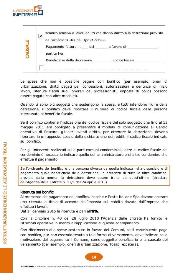 Guida ristrutturazioni edilizie - Art 16 bis tuir causale bonifico ...