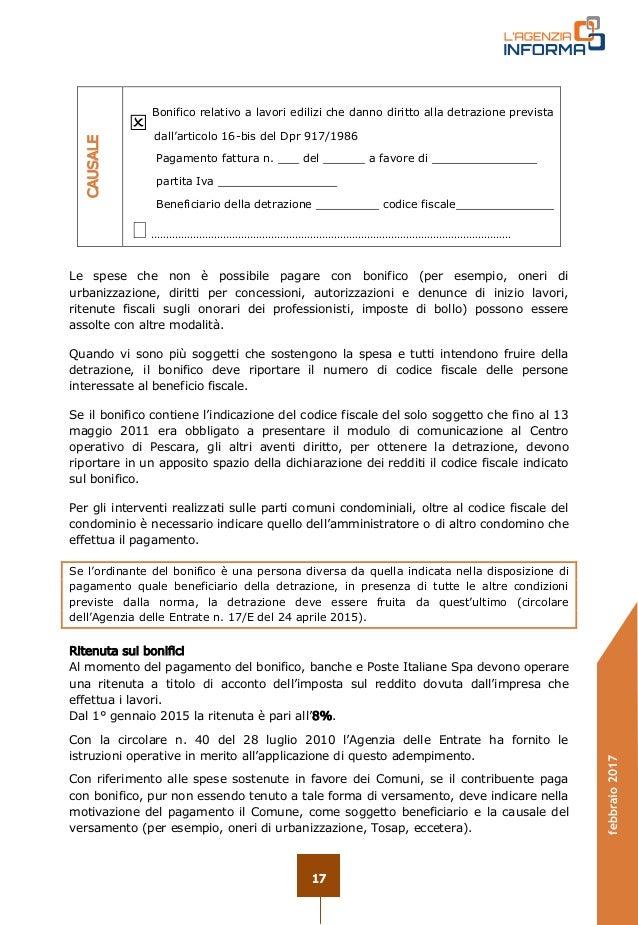 Guida ristrutturazioni edilizie 2017 for Causale bonifico ristrutturazione 2017
