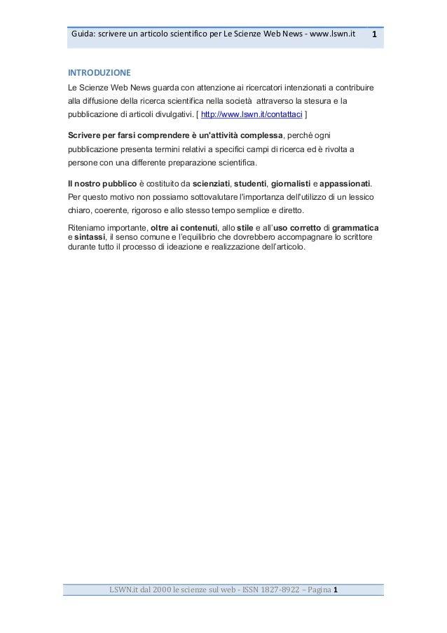 Guida:  scrivere  un  articolo  scientifico  per  Le  Scienze  Web  News  -‐  www.lswn.it   1  ...