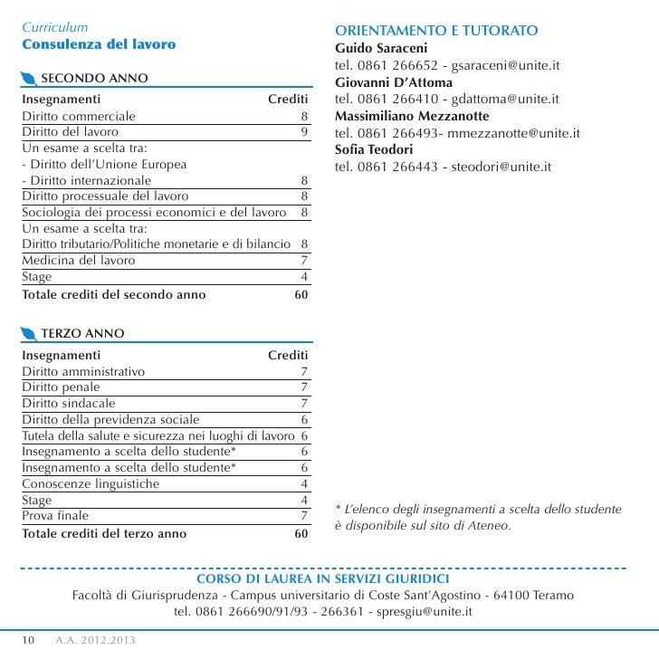 Curriculum                                                ORIENTAMENTO E TUTORATOConsulenza del lavoro                    ...