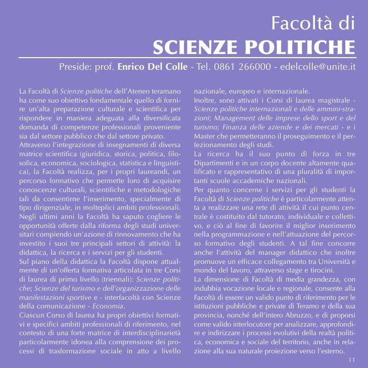 Facoltà di                                              SCIENZE POLITICHE             Preside: prof. Enrico Del Colle - Te...