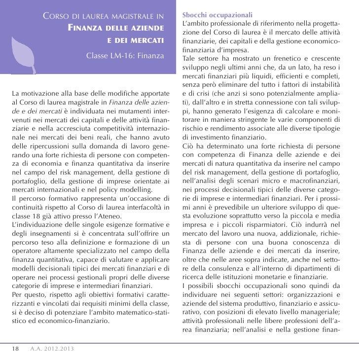 CORSO DI LAUREA MAGISTRALE IN                   Sbocchi occupazionali                                                     ...