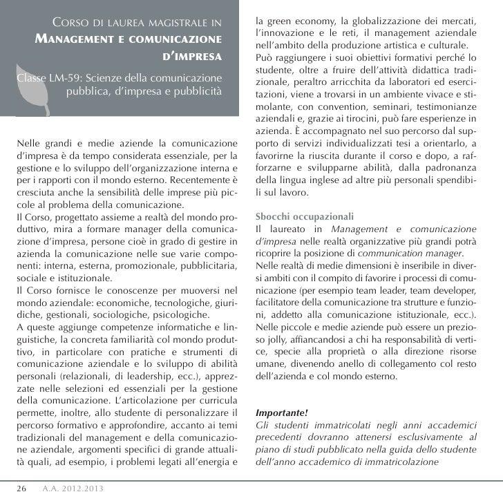 CORSO     DI LAUREA MAGISTRALE IN               la green economy, la globalizzazione dei mercati,                         ...