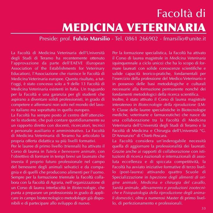 Facoltà di                               MEDICINA VETERINARIA                 Preside: prof. Fulvio Marsilio - Tel. 0861 2...