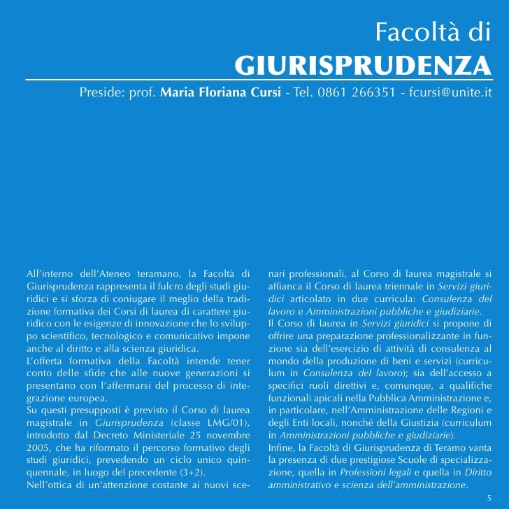 Facoltà di                                                  GIURISPRUDENZA            Preside: prof. Maria Floriana Cursi ...