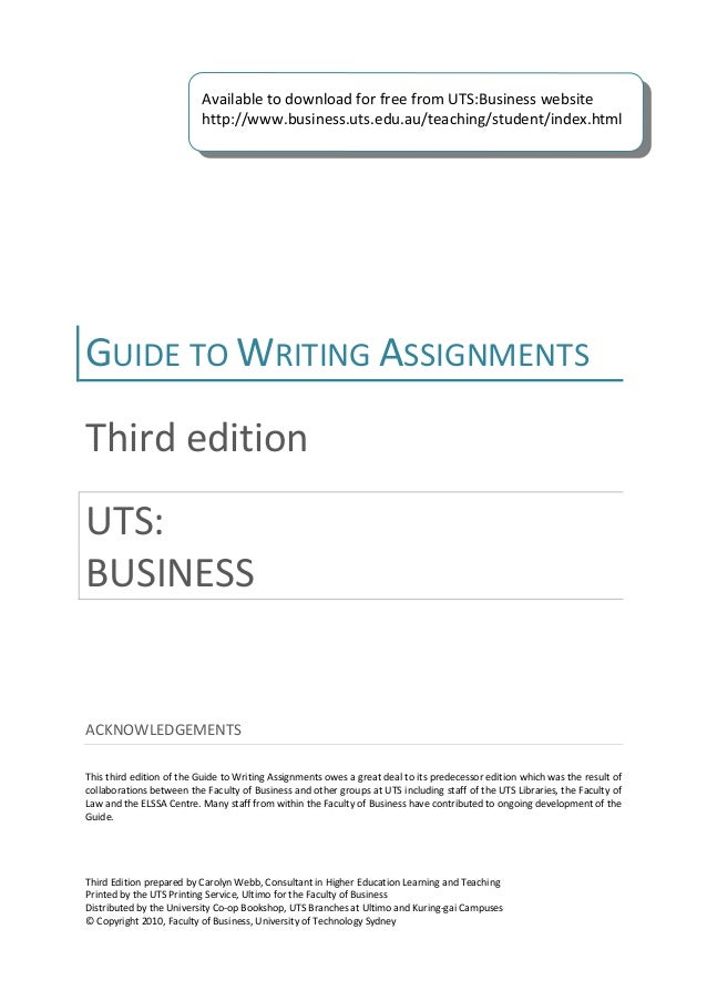 uts assignment writing guide