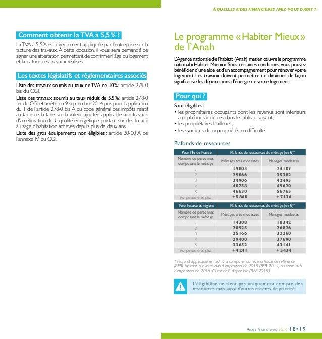 Aides financières 2016 18•19 À QUELLES AIDES FINANCIÈRES AVEZ-VOUS DROIT ? Comment obtenir la TVA à 5,5% ? LaTVA à 5,5% ...