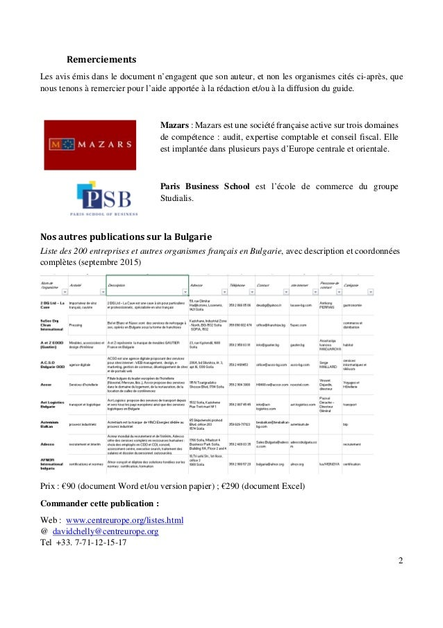 Guide des adresses utiles pour les affaires et l'expatriation en Bulgarie Slide 2