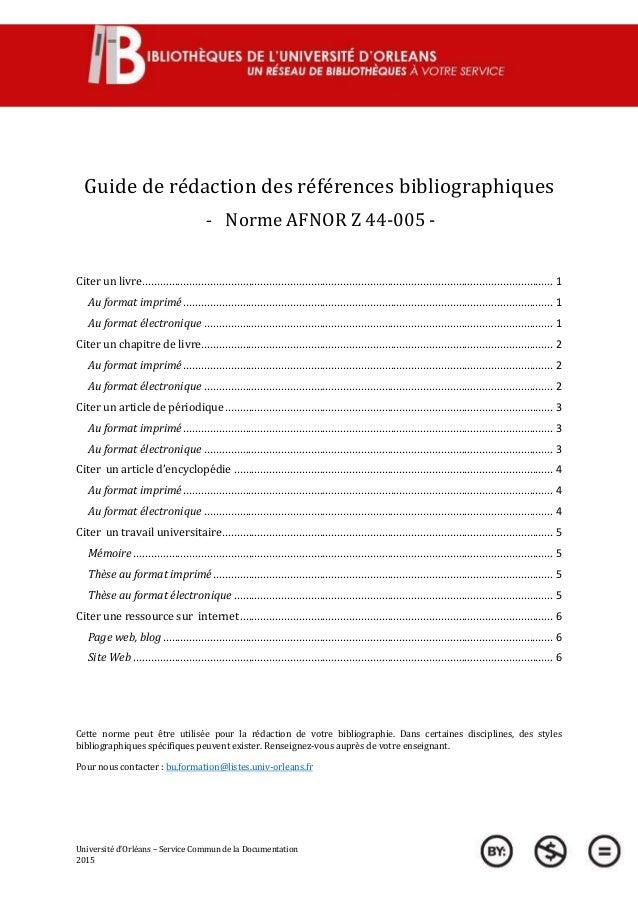 Université d'Orléans – Service Commun de la Documentation 2015 Guide de rédaction des références bibliographiques - Norme ...