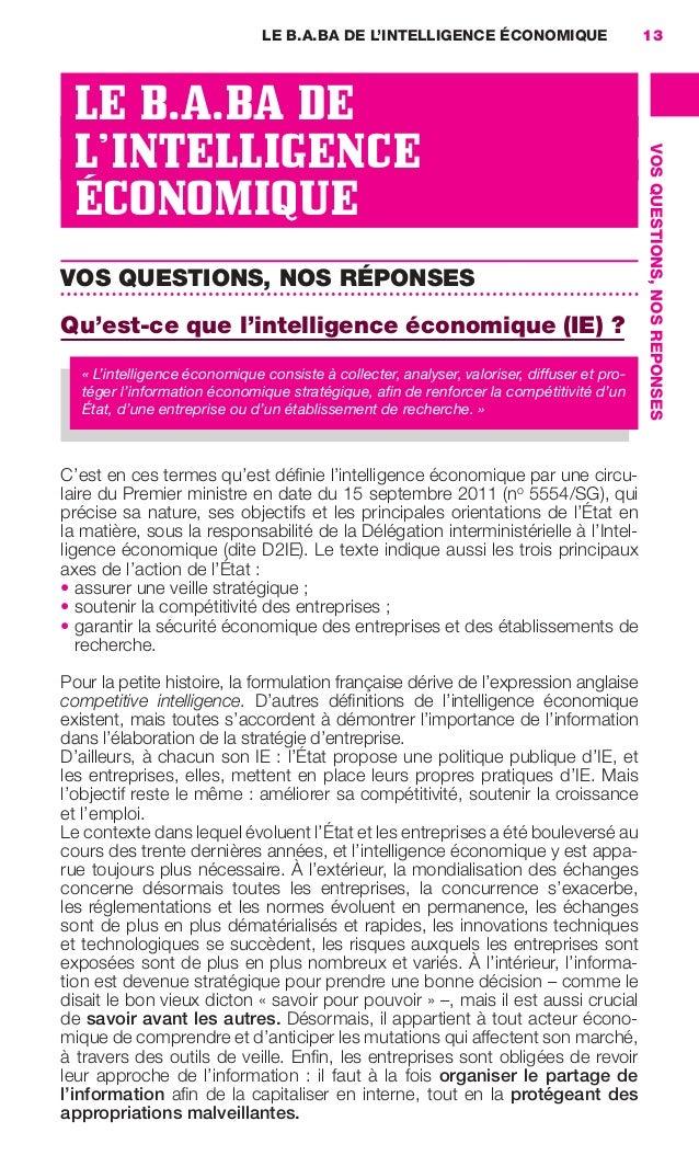 LE B.A.BA DE L'INTELLIGENCE ÉCONOMIQUE                       13                       LE B.A.BA DE                       L...