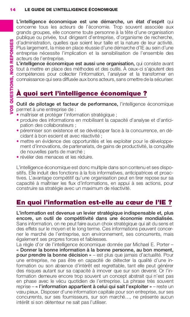 14                                LE GUIDE DE L'INTELLIGENCE ÉCONOMIQUE                                               L'in...