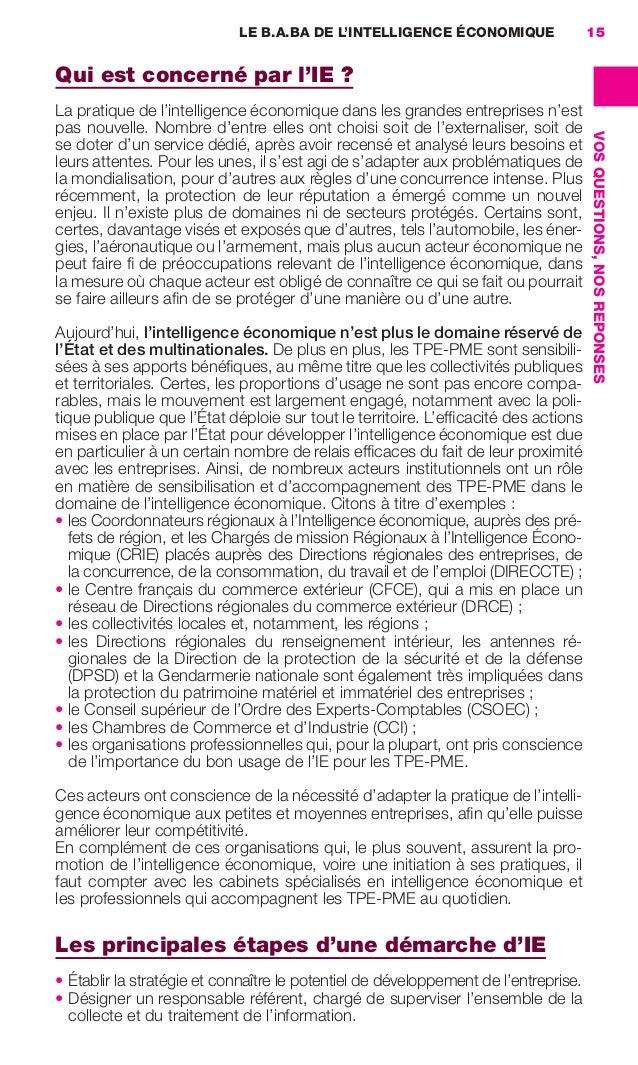 LE B.A.BA DE L'INTELLIGENCE ÉCONOMIQUE               15                     Qui est concerné par l'IE?                   ...