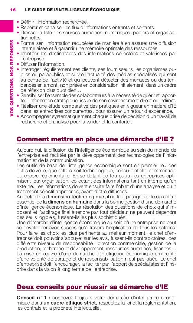 16                                LE GUIDE DE L'INTELLIGENCE ÉCONOMIQUE                                               • Dé...