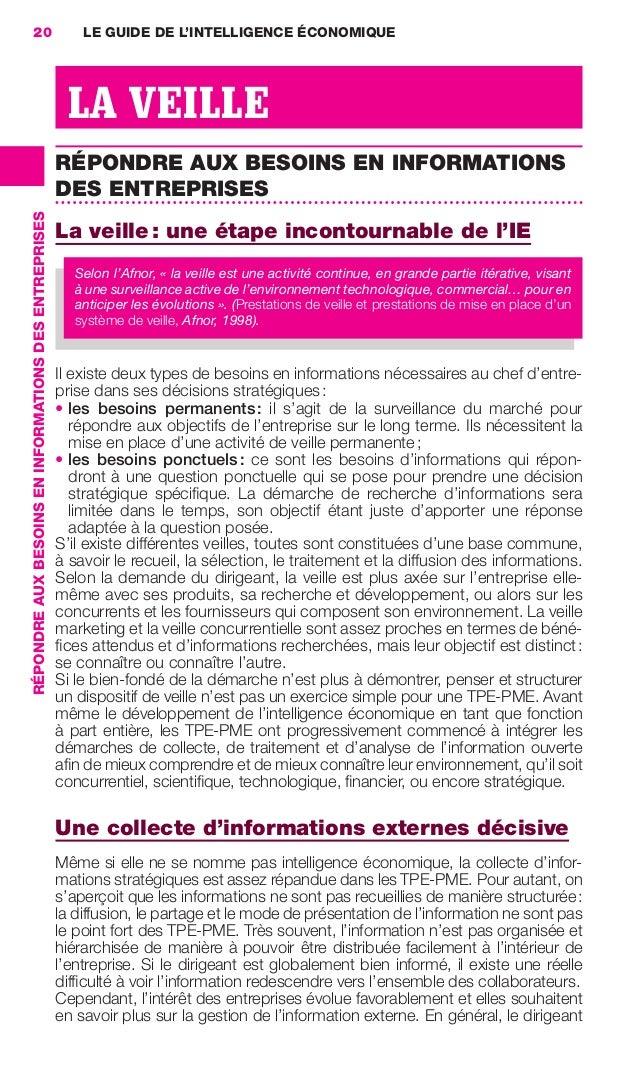 20                                                         LE GUIDE DE L'INTELLIGENCE ÉCONOMIQUE                          ...