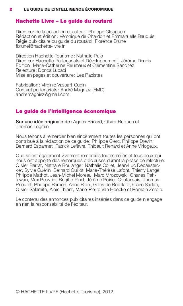 2        LE GUIDE DE L'INTELLIGENCE ÉCONOMIQUE                     Hachette Livre – Le guide du routard                   ...