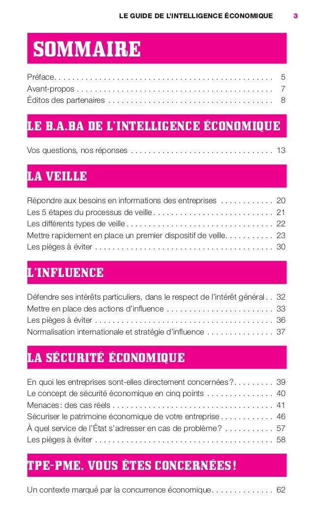 LE GUIDE DE L'INTELLIGENCE ÉCONOMIQUE                                     3                       SOMMAIRE                ...