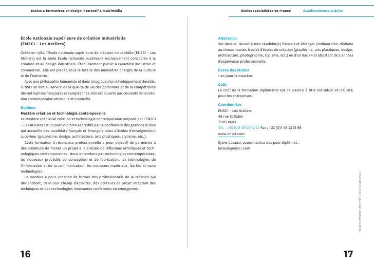 Écoles & formations en design interactif & multimédia                                           Écoles spécialisées en Fra...