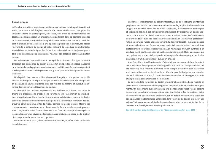 Écoles & formations en design interactif & multimédia     Avant-propos                                                    ...