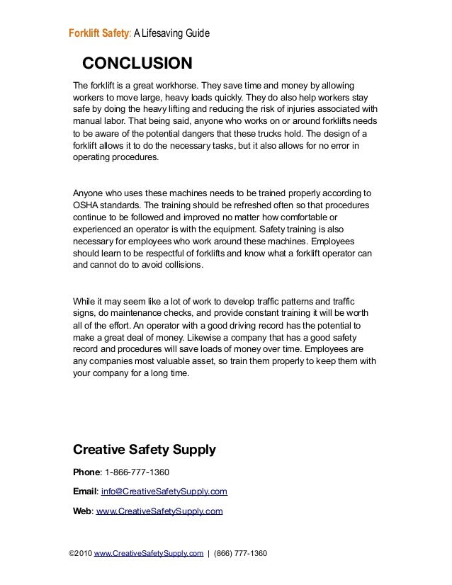 Free guide forklift safety 17 conclusionthe forklift yelopaper Images