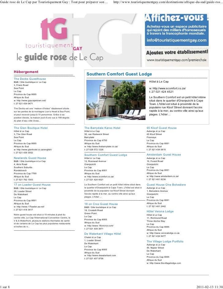 Guide rose de Le Cap par Touristiquement Gay : Tout pour préparer son ...                           http://www.touristique...