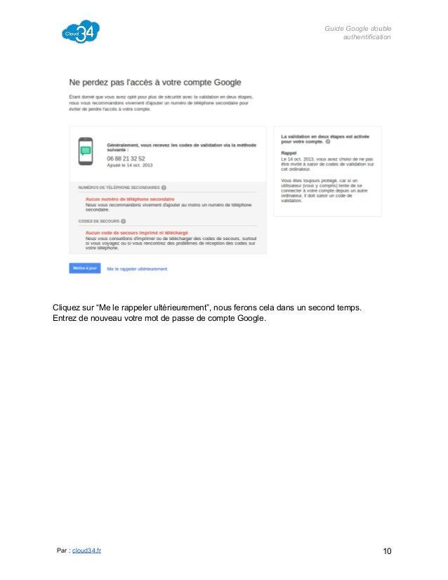 """GuideGoogledouble authentification  Cliquezsur""""Melerappelerultérieurement"""",nousferonsceladansunsecondtemps. ..."""