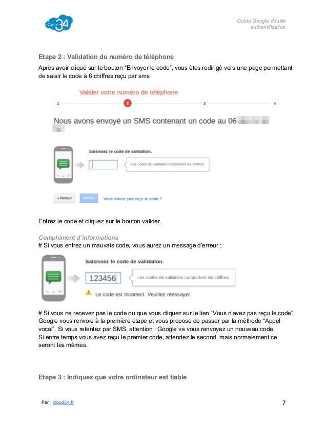 "GuideGoogledouble authentification  Etape2:Validationdunumérodetéléphone Aprèsavoircliquésurlebouton""Envoye..."