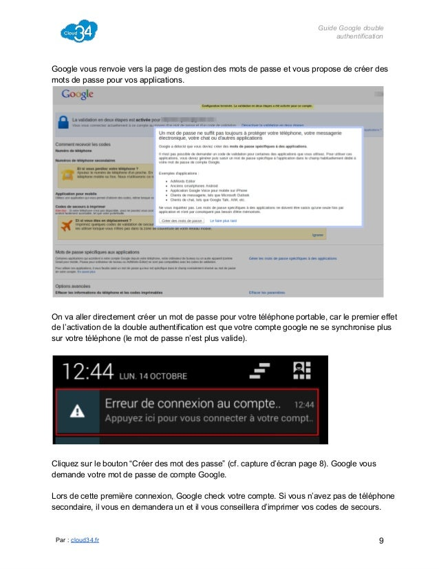 GuideGoogledouble authentification  Googlevousrenvoieverslapagedegestiondesmotsdepasseetvousproposedecré...