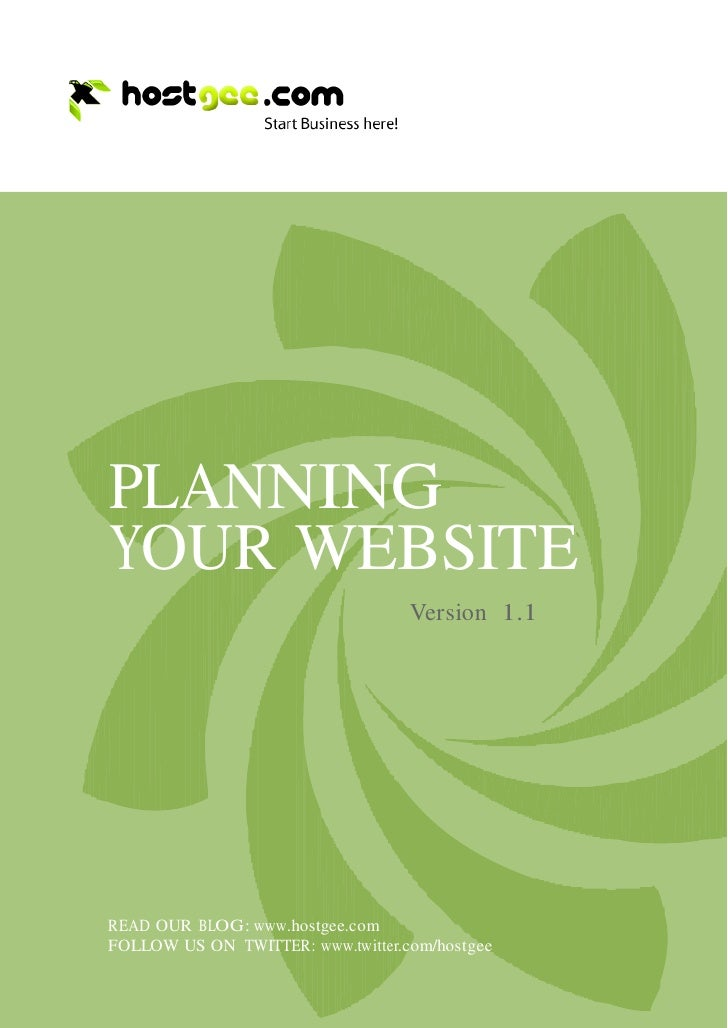 PLANNING     YOUR WEBSITE                                        Version 1.1         READ OUR BLOG: www.hostgee.com     FO...