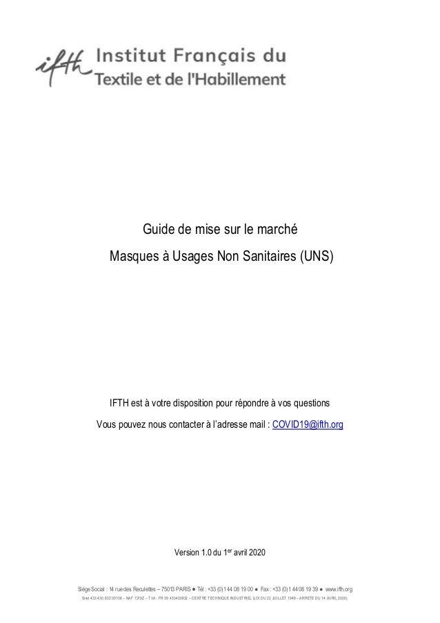 Siège Social : 14 rue des Reculettes – 75013 PARIS Tél : +33 (0)1 44 08 19 00 ● Fax : +33 (0)1 44 08 19 39 ● www.ifth.org ...