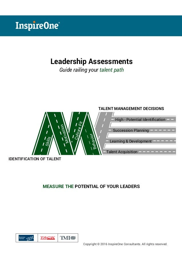 ® Copyright © 2016 InspireOne Consultants. All rights reserved. Leadership Assessments Guide railing your talent path MEAS...