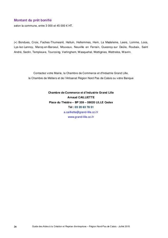 Guide r gional des aides la cr ation et reprise d - Chambre de commerce et d industrie lille ...