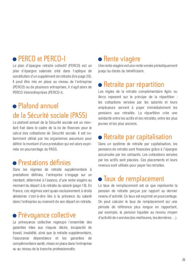 Guide pratique la retraite suppl mentaire collective - Plafond annuel de la securite sociale 2014 ...