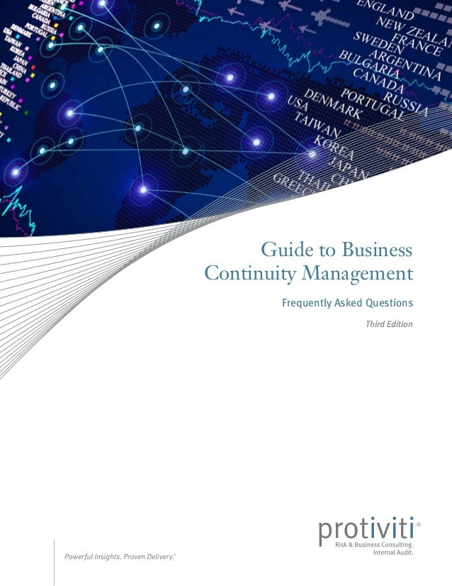 Guide to Business Continuity Management Frequently Asked Questions Third Edition