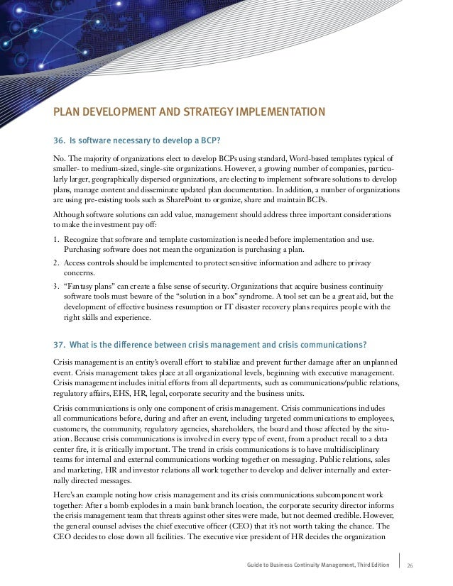 Guide to business continuity management frequently asked questions plan development fbccfo Choice Image