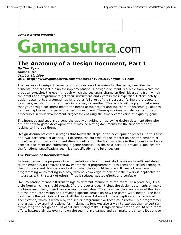 The Anatomy Of A Design Document, Part 1 Http://www.gamasutra ...