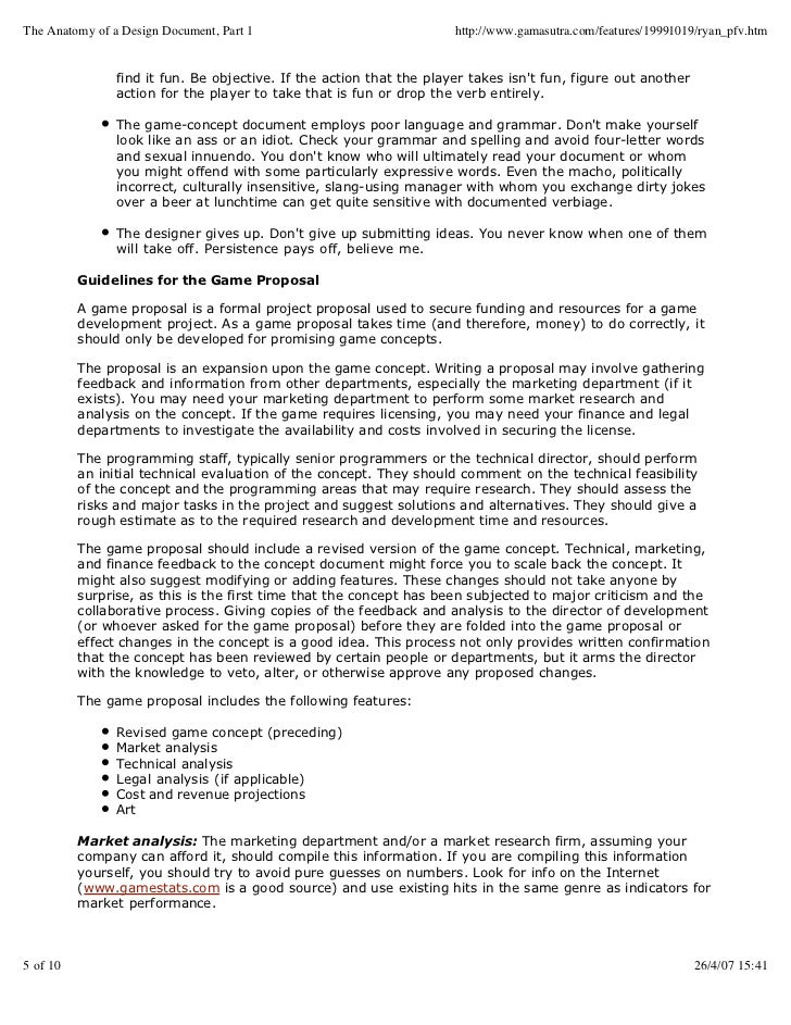Guide To Creation Of Game Concept Document - Game proposal document example