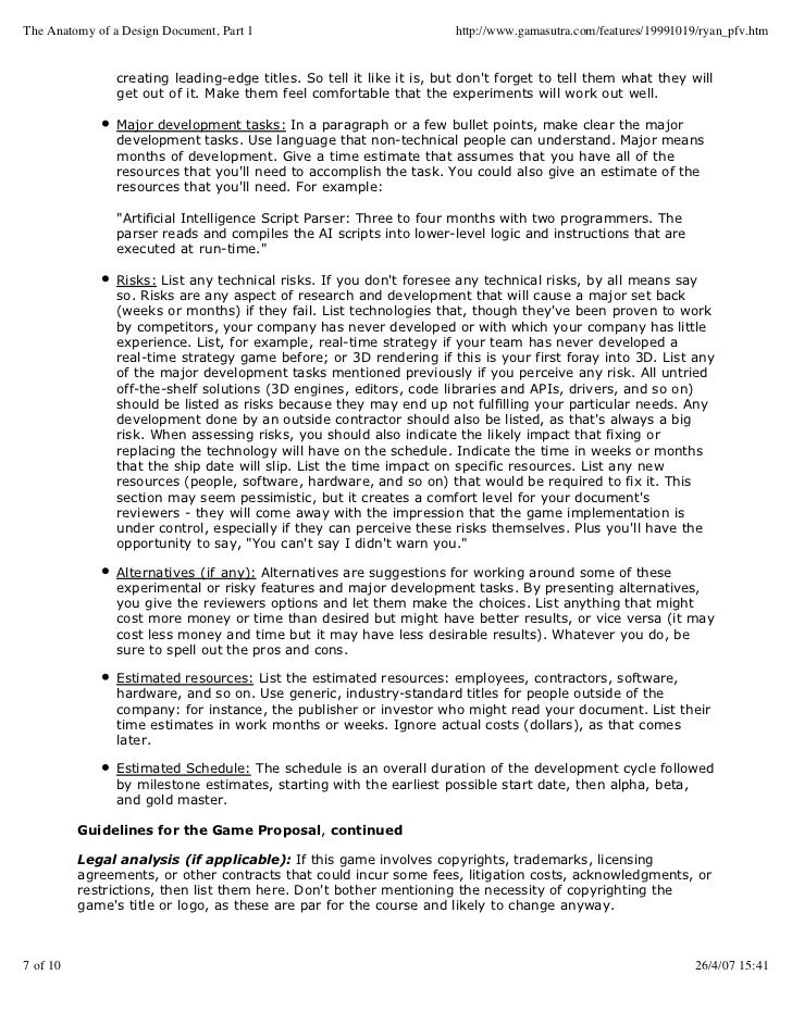 Guide To Creation Of Game Concept Document - Game concept document example