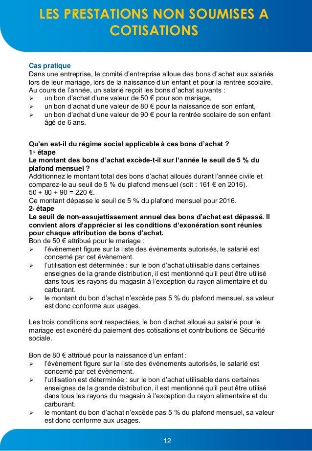 Guide urssaf comite entreprise 2017 - 12 5 du plafond horaire de la securite sociale ...