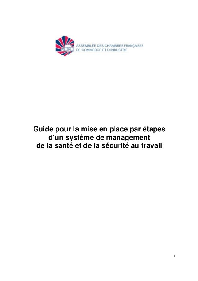 1 Guide pour la mise en place par étapes d'un système de management de la santé et de la sécurité au travail