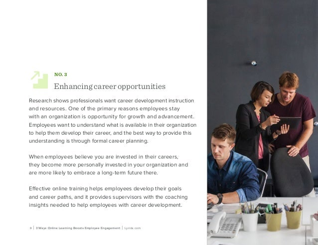 9 | 3 Ways Online Learning Boosts Employee Engagement | Lynda.com NO. 3 Enhancing career opportunities Research shows prof...