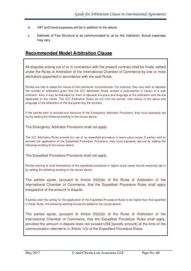 Guide For Arbitration Clause In International Agreements In India