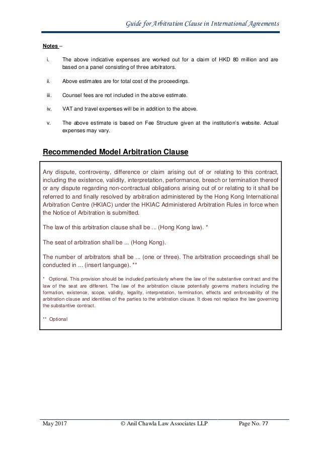 Guide for arbitration clause in international agreements in india 76 hong kong international arbitration centre 78 platinumwayz