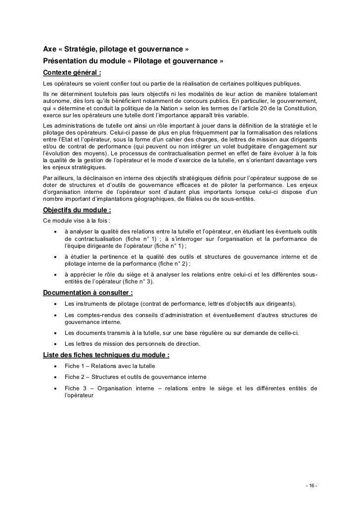 Axe « Stratégie, pilotage et gouvernance »Présentation du module « Pilotage et gouvernance »Contexte général :Les opérateu...