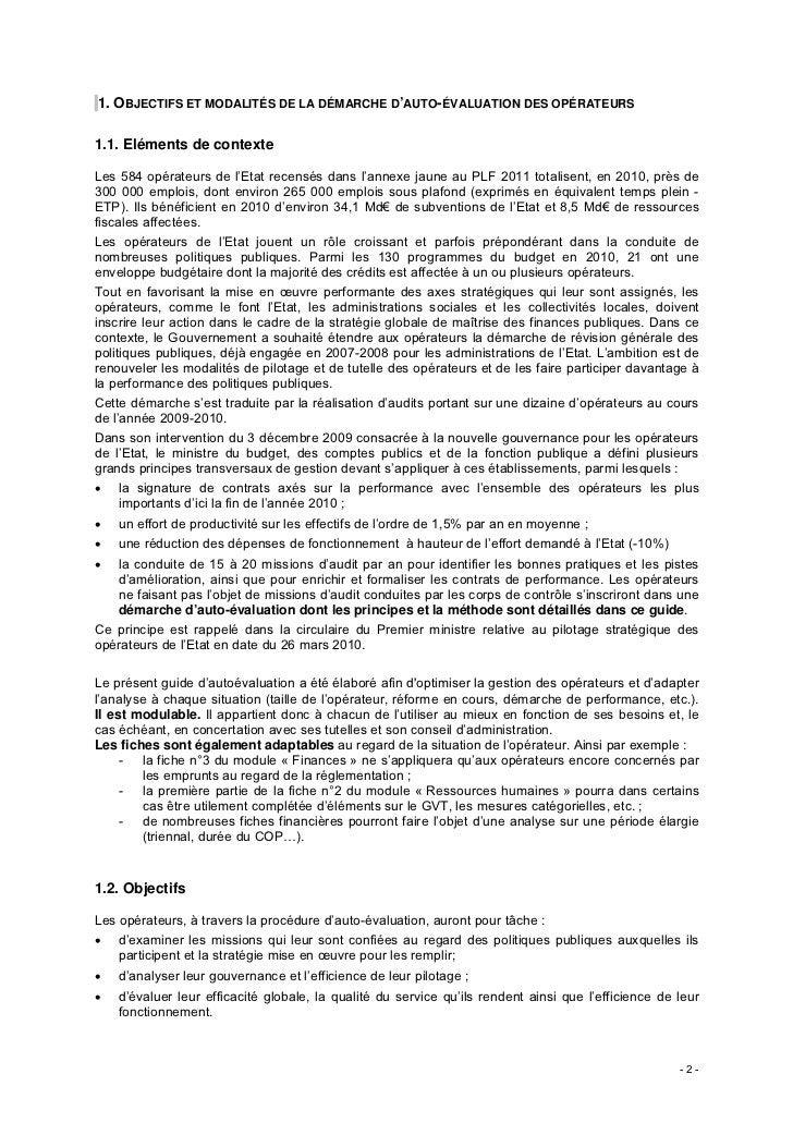1. OBJECTIFS ET MODALITÉS DE LA DÉMARCHE D'AUTO-ÉVALUATION DES OPÉRATEURS1.1. Eléments de contexteLes 584 opérateurs de l'...