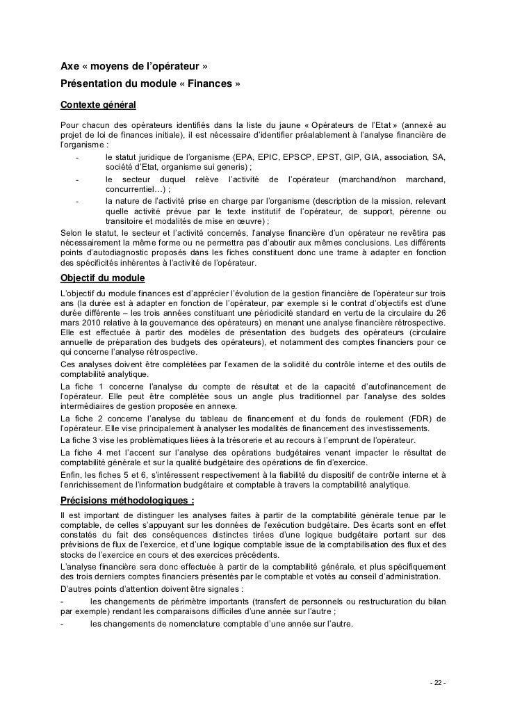 Axe « moyens de l'opérateur »Présentation du module « Finances »Contexte généralPour chacun des opérateurs identifiés dans...