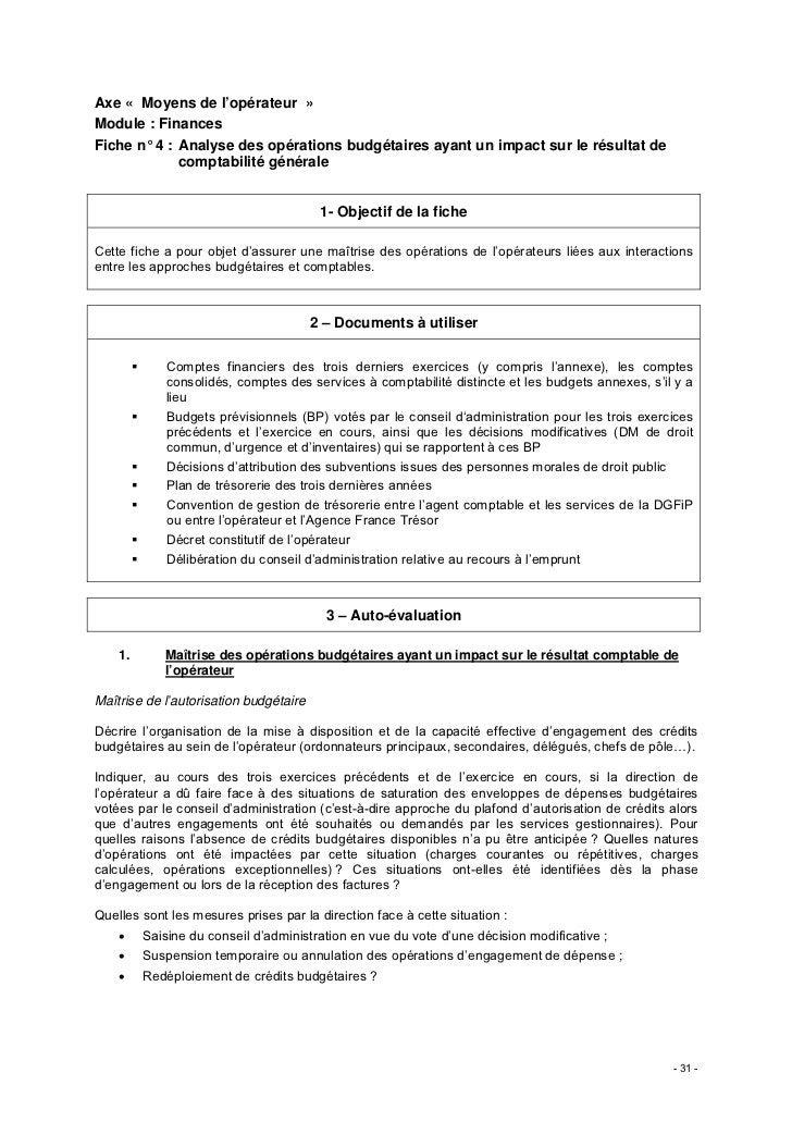 Axe « Moyens de l'opérateur »Module : FinancesFiche n° 4 : Analyse des opérations budgétaires ayant un impact sur le résul...