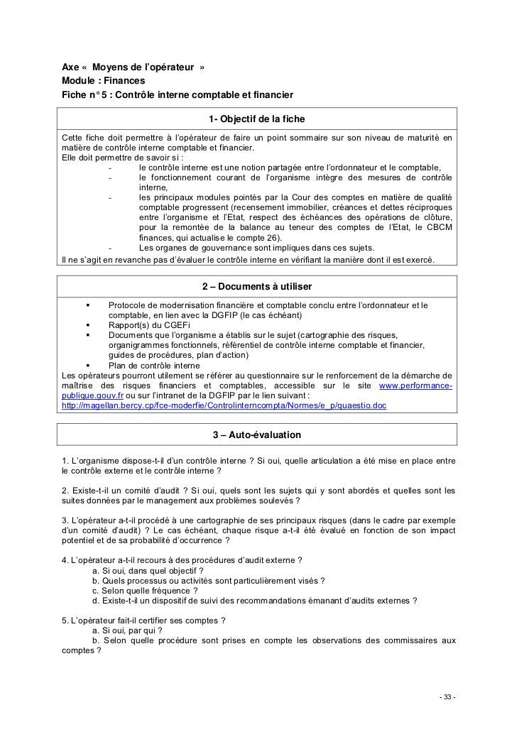 Axe « Moyens de l'opérateur »Module : FinancesFiche n° 5 : Contrôle interne comptable et financier                        ...
