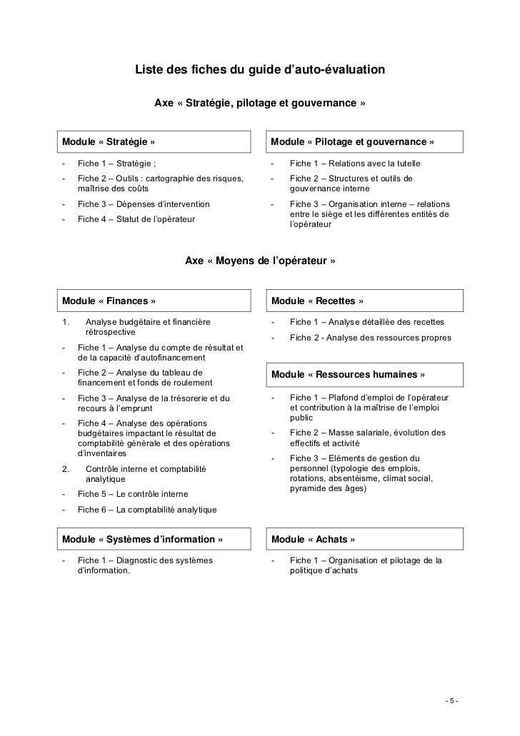 Liste des fiches du guide d'auto-évaluation                         Axe « Stratégie, pilotage et gouvernance »Module « Str...